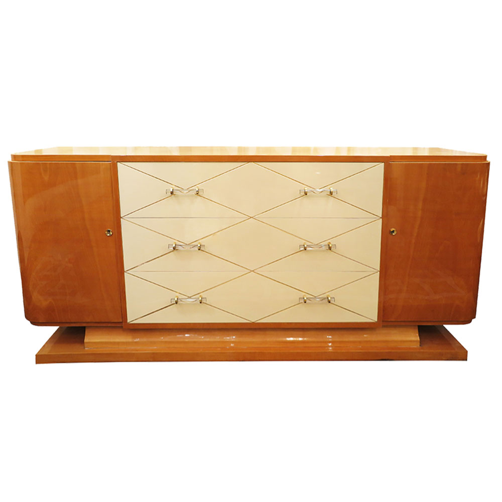 Art Deco maple sideboard with ivory lacquer drawers