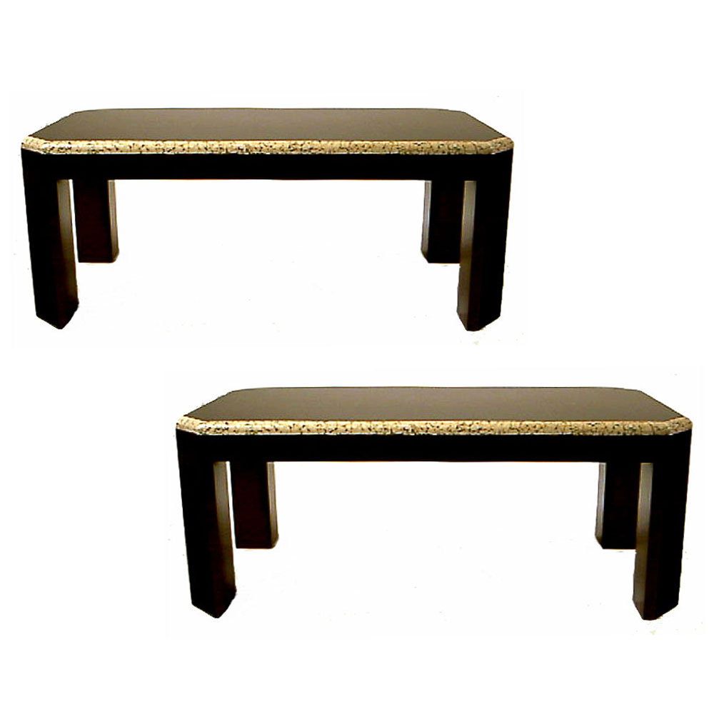 Round Coffee Table Pair: Pair Of Coffee Tables In Black Lacquer And Eggshell In The