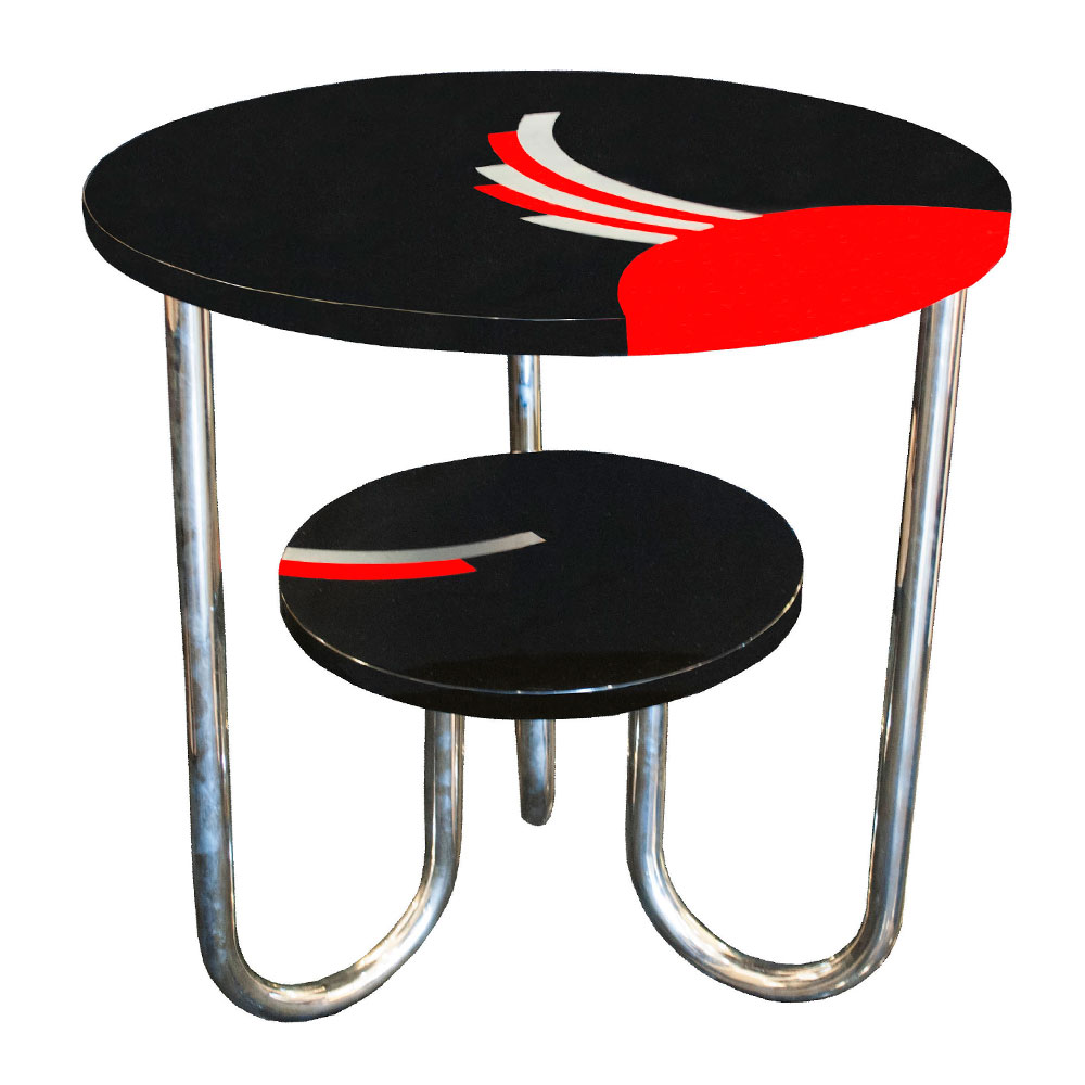 Antique Bauhaus side table in black lacquer with red accents and chrome legs