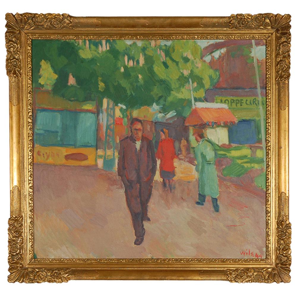 modern abstract painting of man walking
