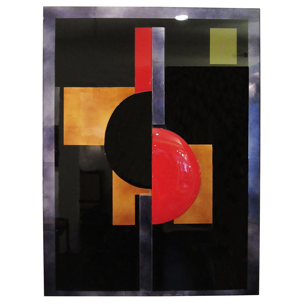 Modern Art Panel in black lacquer with red and gold accents