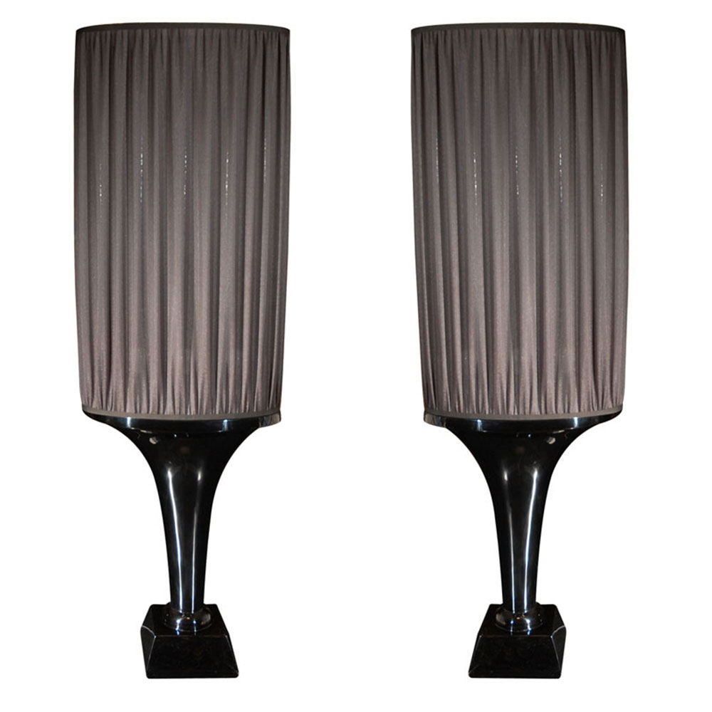 Pair of black floor lamps with pleated shade and black lacquer base