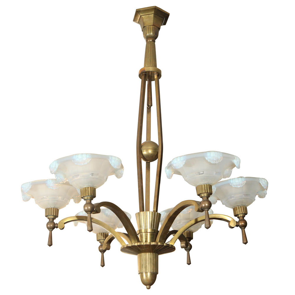Antique Art Deco Petitot Chandelier in brass with opaline glass
