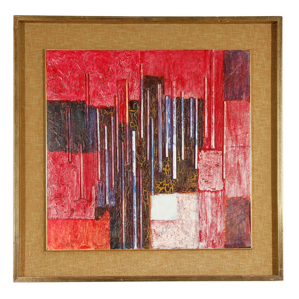 vintage abstract painting in red