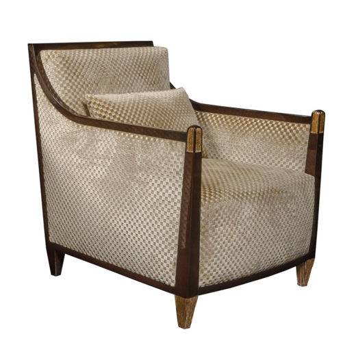 High End Lounge Chair Gabrielle In Palisander With Gold Leaf Carving