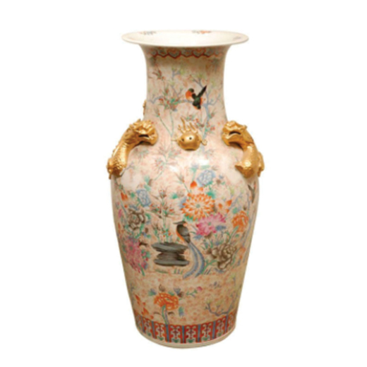Extra Large Chinese Porcelain Vase With Hand Painted Nature Motif