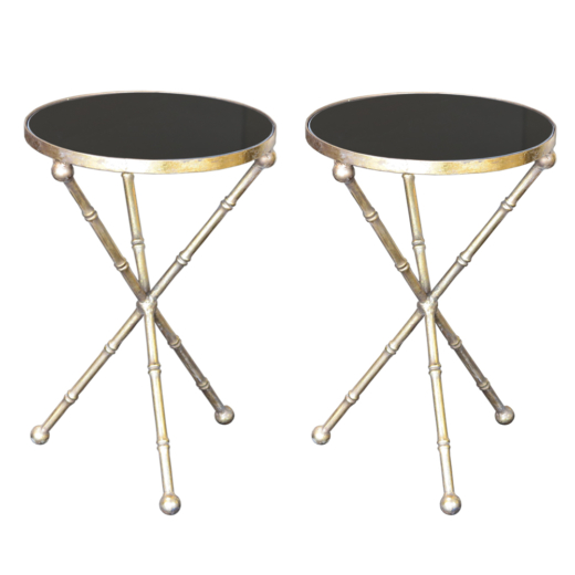 Side Table With Bamboo Legs In Metal With Distressed Gold Leaf