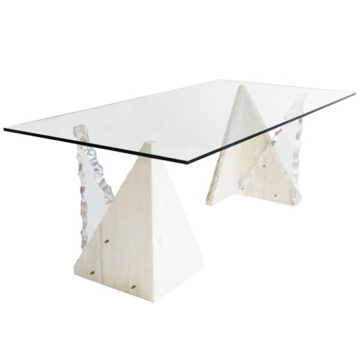 triangular glass dining table