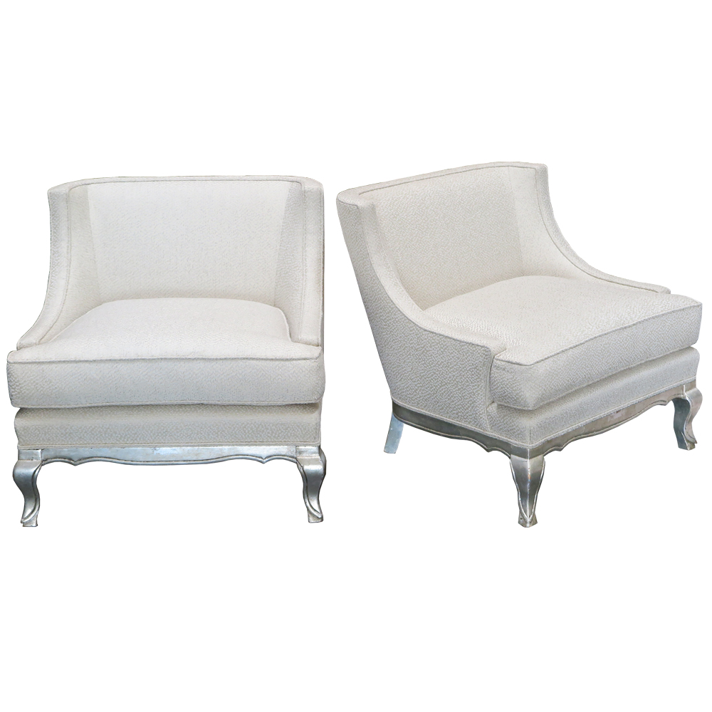 white lounge chairs antique with silver leaf feet