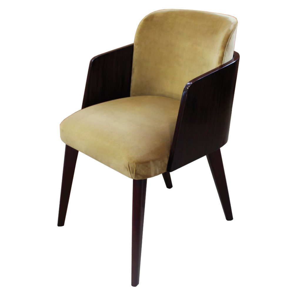 modern curved dining chair with macassar ebony wood back