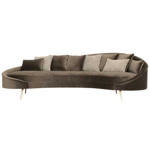 Modern Curved Daybed Chaise Lounge With Brass Legs Anne Hauck