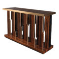 Modern console in exotic macassar wood and brass detailing