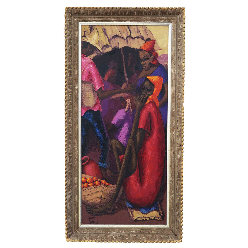 Vintage african art painting in red ad purple of women