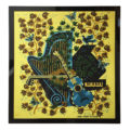 vintage french tapestry with harp and guitar