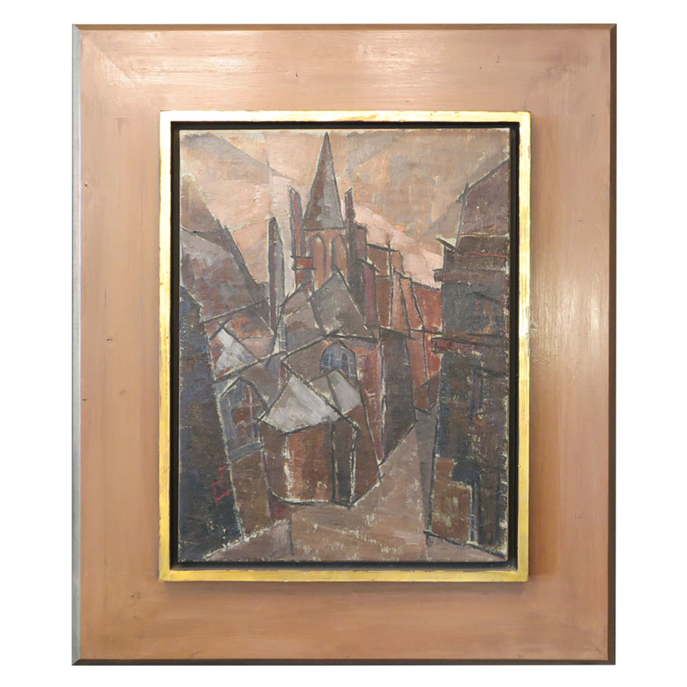Modern Abstract painting of brown houses