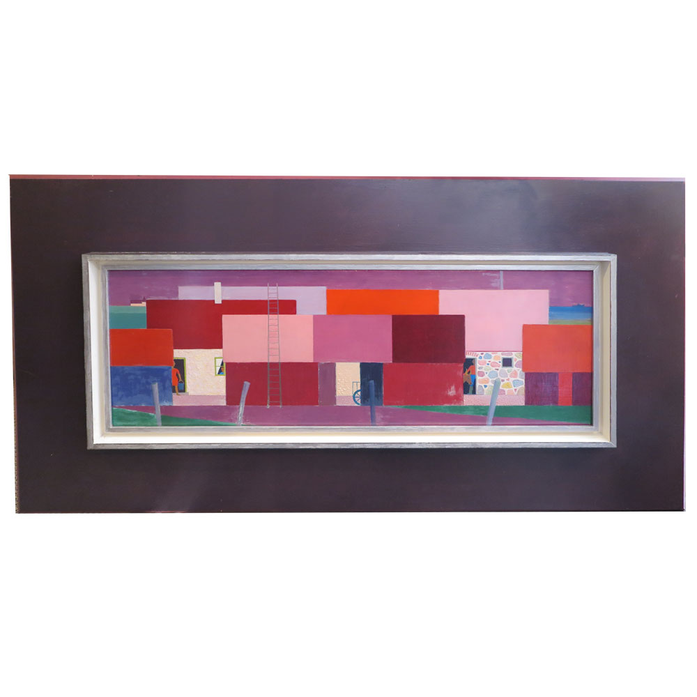 vintage painting in red pink and purple