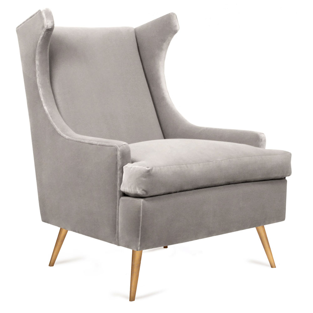 midcentury wingback lounge chair modern style with brass legs
