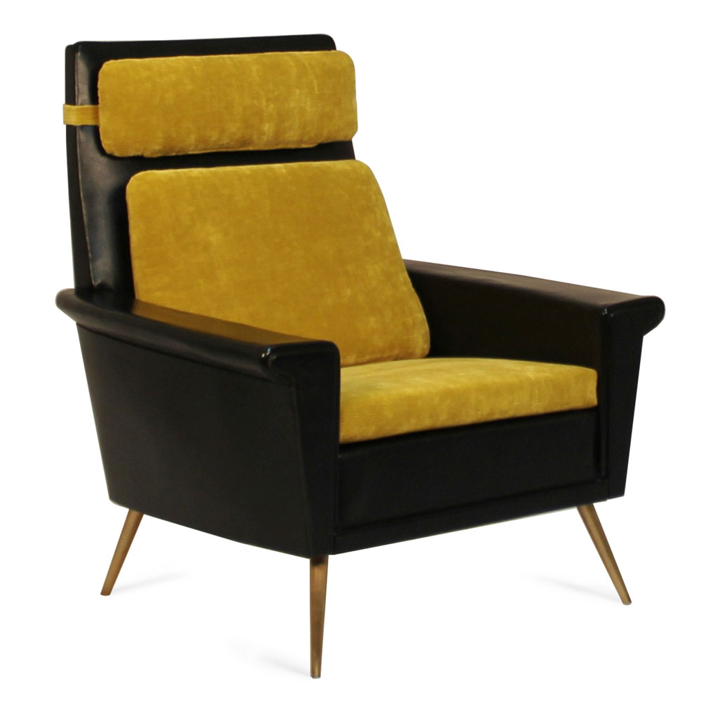 mid-century style lounge chair with headrest and brass legs
