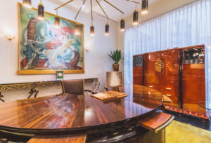 Demi-Lune large Art Deco Desk with Mid Century Chandelier