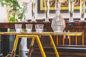 Mid-Century Bar Cart with Art Deco decanters