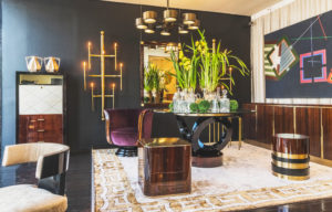 Modern Furniture with Wood and brass dining table and side table