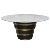 Round entry dining pedestal table with marble