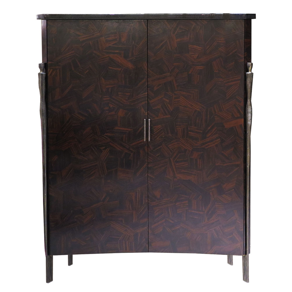 modern wood cabinet with bronze in Macassar parquetry matte finish