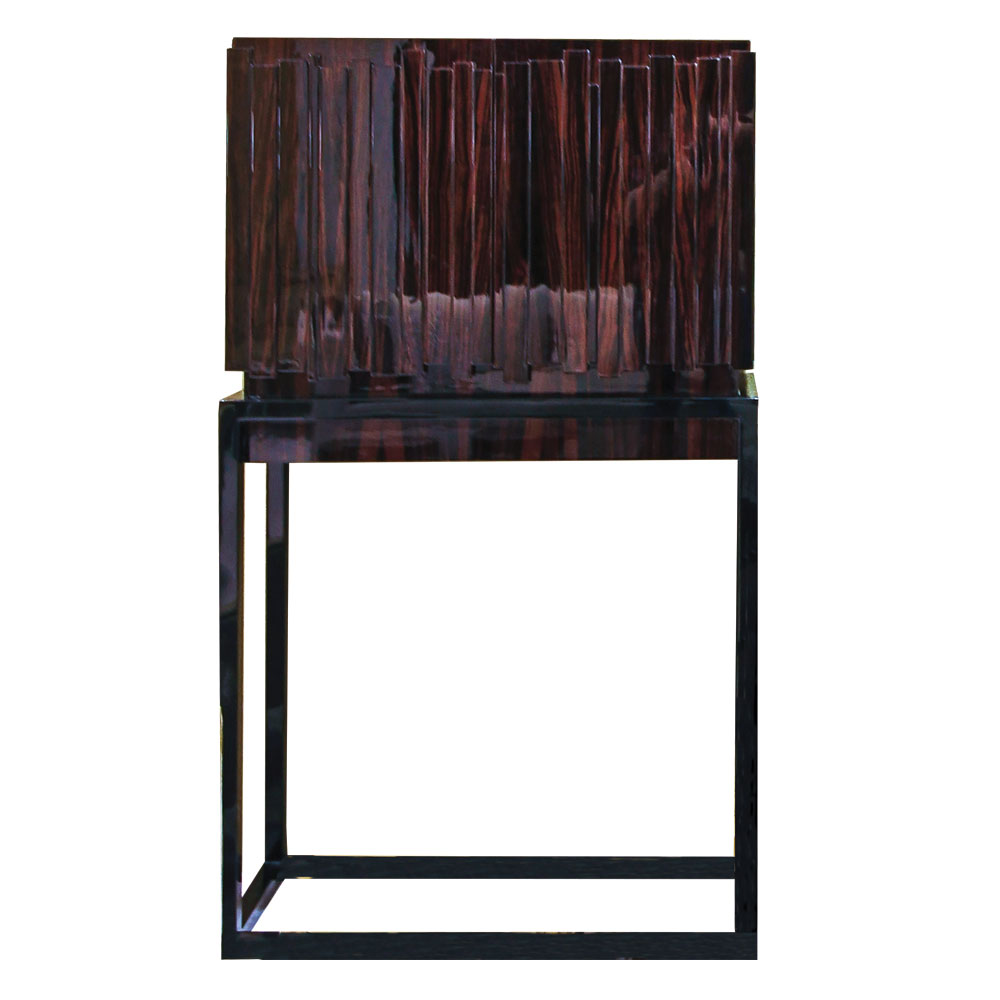 offset layered panels of ebony on cabinet with elevated base