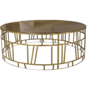 Round coffee table with open brass cage design and granite top