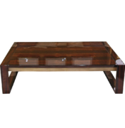Rectangular coffee table in high gloss Macassar ebony with brass rail