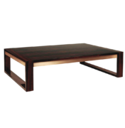 Rectangular coffee table in wood and brass