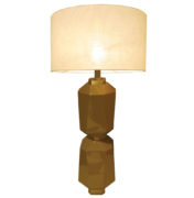 modern table lamp with two tiers in mustard lacquer high gloss