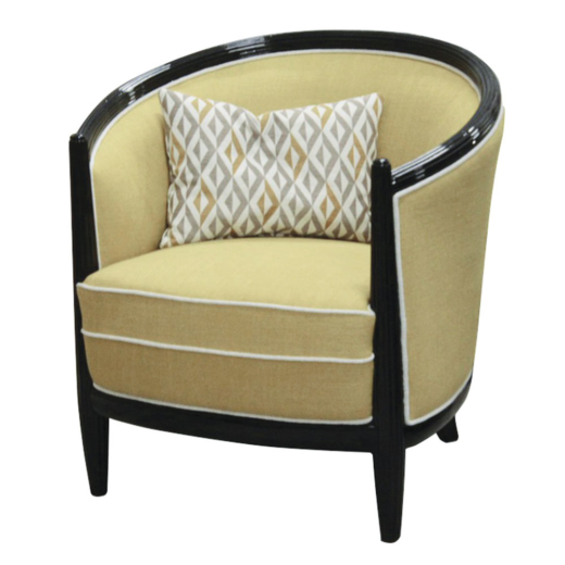 Art Deco Style Armchair With Curved Back And Ribbed Details Anne Hauck
