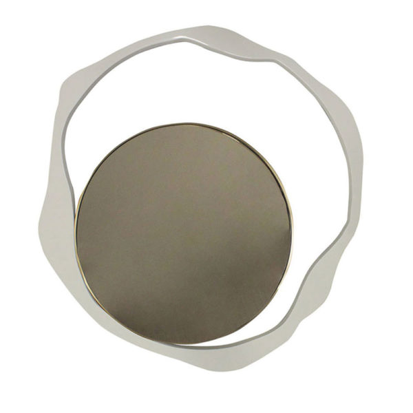 modern mirror in lacquer with wavy design and brass border