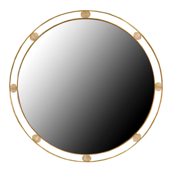 modern round mirror in brass and stones