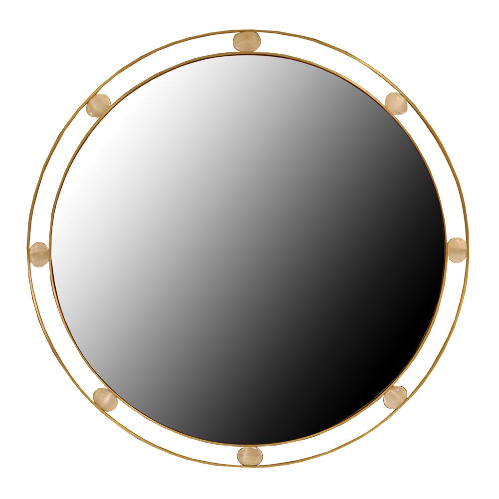 modern round mirror in brass and stones
