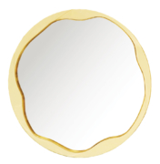 modern round mirror in brass and lacquer