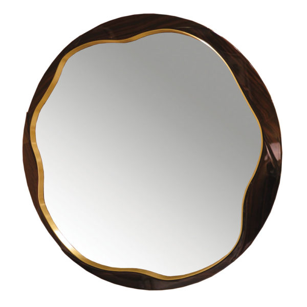 round mirror in wood and brass