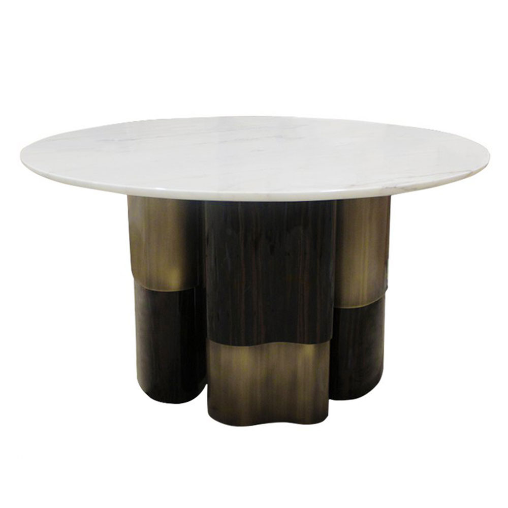 Modern round dining entry table with ebony and brass base and white marble top