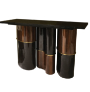 Console with undulating wood and lacquer curved base and brass accents