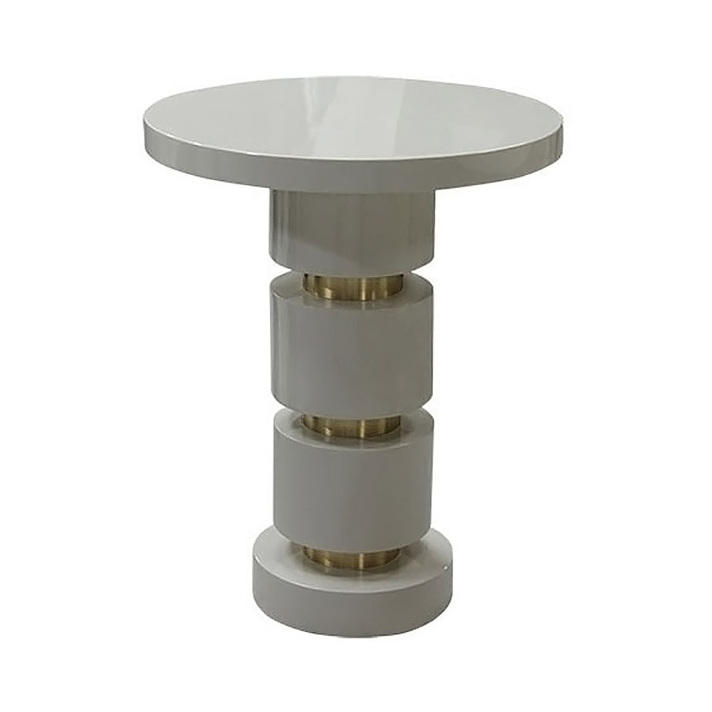 Round side table with alternating lacquered and brass sections on stem base