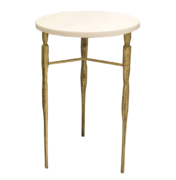 three legged side table with round top and bronze legs