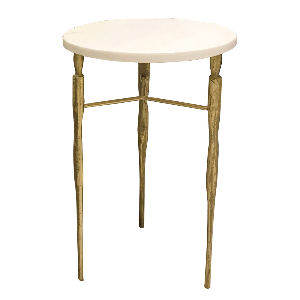 round side table in bronze with marble or wood top and three legs