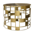 Round brass cutwork side table with brown granite top