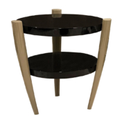 Two tiered round black onyx side table with brass legs
