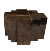 Asymmetrical side table of wood blocks with brass inlay