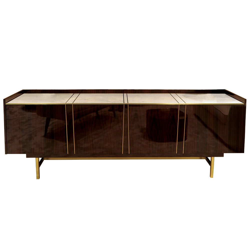modern wood sideboard in brass with macassar, brass and marble