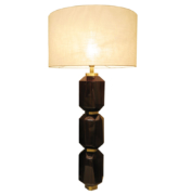 modern table lamp in wood and brass with macassar tiers