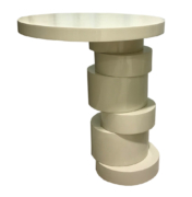 Contemporary sculptural base round side table with offset cylindrical sectioned base and round top