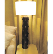 tall table lamp n wood with brown stones